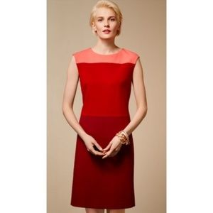 Talbots Coral and Red Fall Color Block Dress
